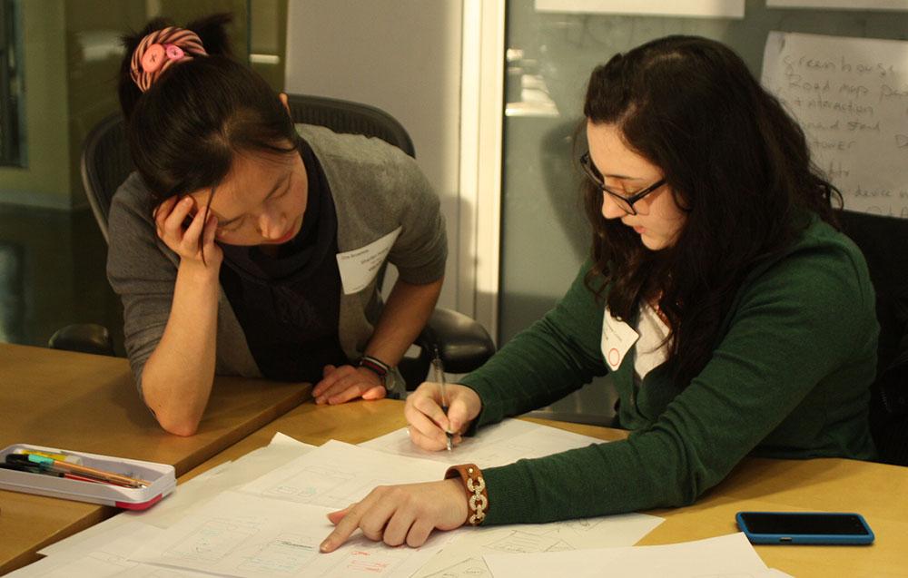 Shanfan and Megan sketching